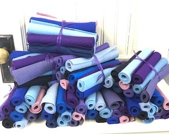 Wool Felt, Stash Builder, Assortment, Shades of Blue, Shades of Purple, Pure Merino, Wool Applique, Penny Rugs, Felt Flowers, Felt Toys