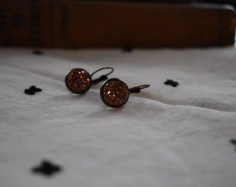 Rose Gold Druzy Dangle Earrings, 12 mm