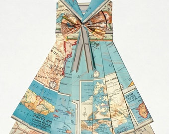 "Ready to Ship - UNITED STATES in Pink and Teal (Puerto Rico and Guam) Hand Folded Map Dress - 11"" x 14"" - Nursery Wall Decor Art"