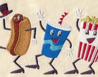Dancing Movie Snacks Embroidered Flour Sack Hand/Dish Towel