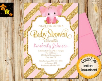 """Baby Shower Invitation, Girl, Pink and Gold Elephant, Diagonal Stripes, INSTANT download, EDITABLE in Adobe Reader, DIY, Printable, 5""""x7"""""""