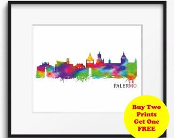 Palermo Skyline Watercolor Art Print (342) Palermo Cityscape, Palermo Watercolor Art Print, Italy Art Print
