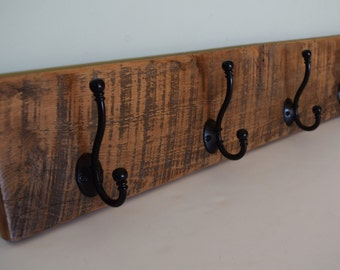 Reclaimed Barn Wood Coat Towel Rack 4 Hooks (choice antique brass bronze black shaker oil rubbed) Rustic Distressed Barnwood Foyer Bathroom