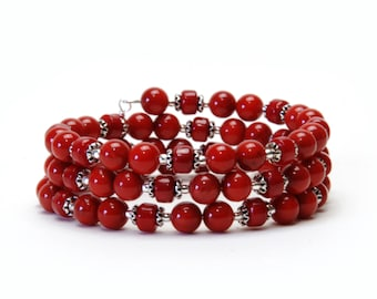 Red Coral Gemstone Memory Wire Bracelet