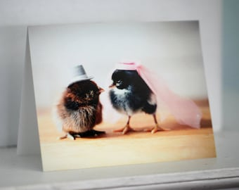 Chicks in Wedding Hats Marriage Card Married Engagement Chickens Stationary
