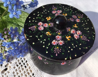 Pretty paper mache ring box, jewellery storage, papier mache, black lacquered hand painted pink flowers, Mothers Day