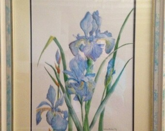 Delightful Iris Watercolor painted and signed by Valthea McGee Fry
