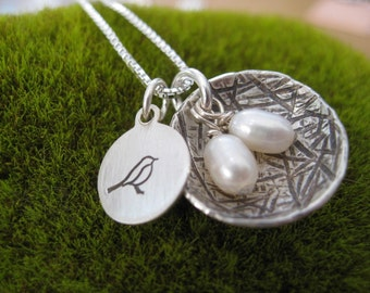 Personalized Hand Stamped Sterling Silver  Mama Bird  Nest Necklace