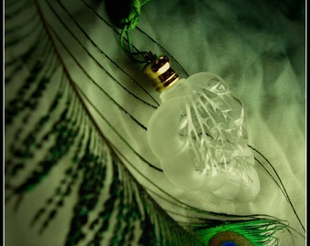 Green Jasmine Natural Perfume Spray, a viridian floral perfume with handmade jasmine extrait, yuzu, sandalwood, and green foliage accord
