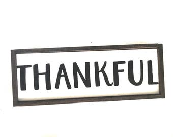 Thankful Handcrafted Wooden Fall Sign // Thanksgiving Sign // Thanksgiving Decor // Farmhouse Fall Decor // Farmhouse Fall Sign