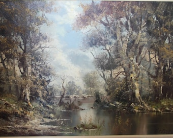 large oil on canvas by listed German artist Sedimeier