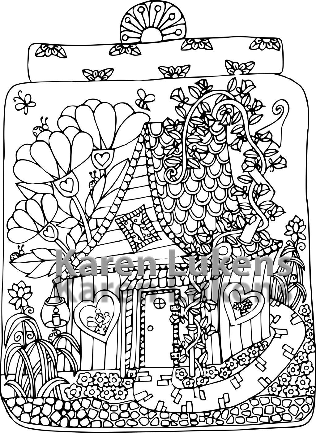 Fairy House 3 1 Adult Coloring Book Page Printable Instant