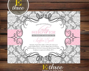 Pink and gray baby shower invitation shabby cottage chic pink and gray baby girl shower invitation damask baby shower invitations girls shower invite filmwisefo