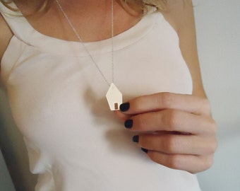 House pendant - cities - handmade - sterling silver  - metal - minimalist - jewelry -
