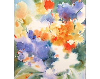 Flowers Watercolor, Original Abstract Painting 12x16 inches