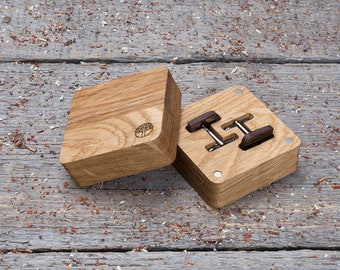 Wooden Cufflinks set of 4-6-8-10, groomsmen gift set, boyfriend gifts. Rounded Square  wood cufflinks in wood gift box, customized cufflinks