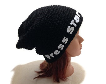 Press Start Hat, Slouchy Gamer Hat, Retro Video Games, Video Game Hat, Funny Hat, Gamer Girl, Gifts for Gamers, Gifts for Geeks, Slouchy Hat