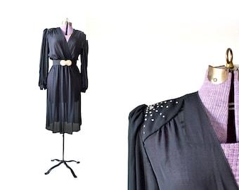 1970s Costume, 1970s Dress, 70s Dress, Disco Dress, Sheer Dress, 70s Costume, Black Dress, Vintage Clothing, Vintage Dress