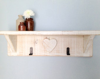 Rustic Wood Shelf with Hooks