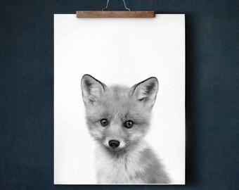 Baby animal prints, Fox print, PRINTABLE art, Nursery decor, Animal art, Black and white, Nursery wall art, Woodland nursery, Kids wall art