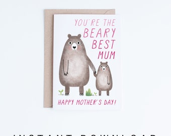 Mothers Day Cards Printable, Cute Bears Mother's Day Digital Download, Best Mum, Mothering Sunday, for Her, From the Baby, Kid, Child