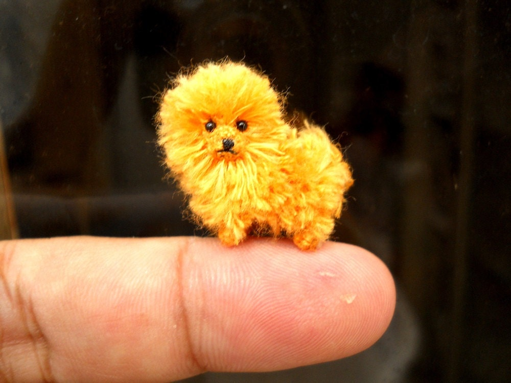 orange pomeranian puppy orange pomeranian puppy tiny crochet miniature dog stuffed 9710