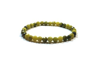 Faceted Olive Jade Stretch Bracelet ,  Stacking  Bracelet