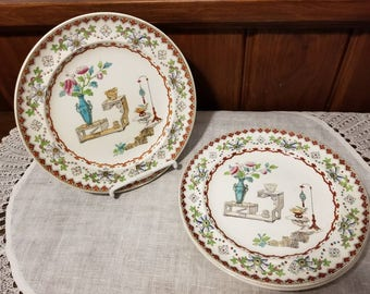 """Antique, Spode Copeland, Canton (smooth), 2-528, Four, 7 3/8"""" Salad Plates"""