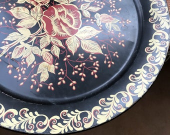 Vintage 1950's Large Round Metal with Tray Floral Design