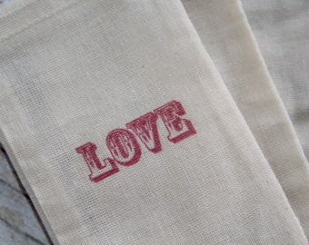 25 3x5 Hand stamped muslin favor bags - LOVE - Valentine, Wedding, Gift bags, party supply