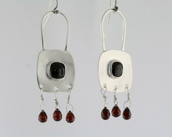 Garnet Dangle Parachute Earrings, Sterling Silver Earrings, Gemstone Dangles, January Birthstone Earrings, Gift for Her,