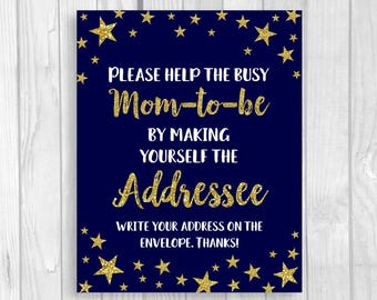 Twinkle Twinkle Little Star Printable Help the Busy Mom-to-Be 5x7, 8x10 Write Your Address Baby Shower Sign Midnight Blue Gold Glitter
