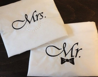 Mr. and Mrs. bow tie and pearls monogrammed pillow case set