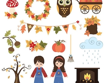 50%OFF Fall and Thanksgiving clip art 2, fall harvest clip art, commercial use clipart, Thanksgiving holidays clipart, C305