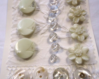 Vintage/antique white buttons - white glass, clear glass, and pearl (Ref N15)