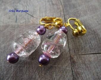 Clip earrings for non-pierced ears pink
