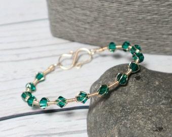 Emerald Green Swarovski Bracelet ~ Swarovski Elements ~ Wire Wrapped ~ Champagne Gold ~ Green Bracelet ~ Mothers Day ~ Prom ~ Valentine