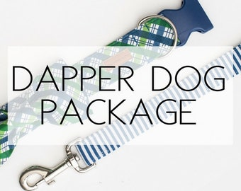 Dapper Dog Package- includes collar, leash and bowtie(made from any fabric in our shop)