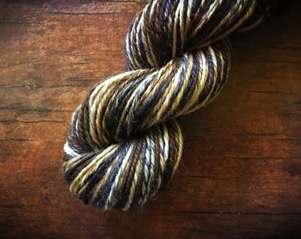 Handspun brown yarn, soft worsted weight, Cedar Woods