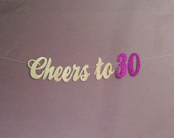 30th Birthday Decorations 30th Birthday Banner, Cheers to 30 Years, 30 and Blessed, Birthday Party Decorations, Cheers