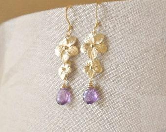 Gold Plumeria Flowers Jewelry Set with Purple Amethyst Gemstones - Hawaii Jewelry, Plumeria Necklace, Plumeria Earrings, Gold Jewelry Set