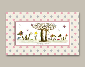 Floral Girls  Nursery Decor Name Sign - Custom Name Signs for Wall Decor - Unique Newborn Baby Girl Gift - Pink, Gray, Tan Polka Dot