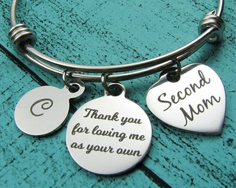 special Mom gift, second Mom bracelet, Step Mom wedding gift, bonus Mom, Step Mother of the bride groom, foster Mom thank you, Mother's Day