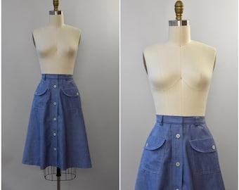 1970's chambray a-line high waist skirt • xs