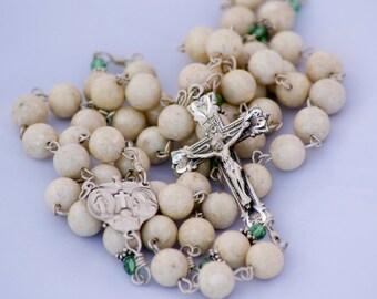 Catholic Handmade Riverstone Gemstone Erinite Swarovski Four-way Medal Sterling Rosary