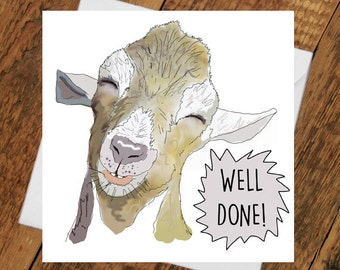 Congratulations Well Done Card Goat Promotion exam results passed driving test new job PB belta for him her girlfriend boyfriend nice one