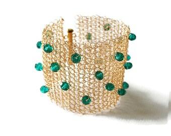 Wide cuff bracelet, crystal bracelet, statement, gold, emerald green, wire crochet jewelry, beaded
