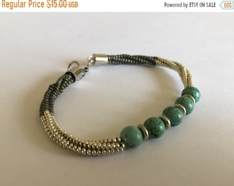 Half Price One week sale Turquoise With Silver and Brown Bracelet