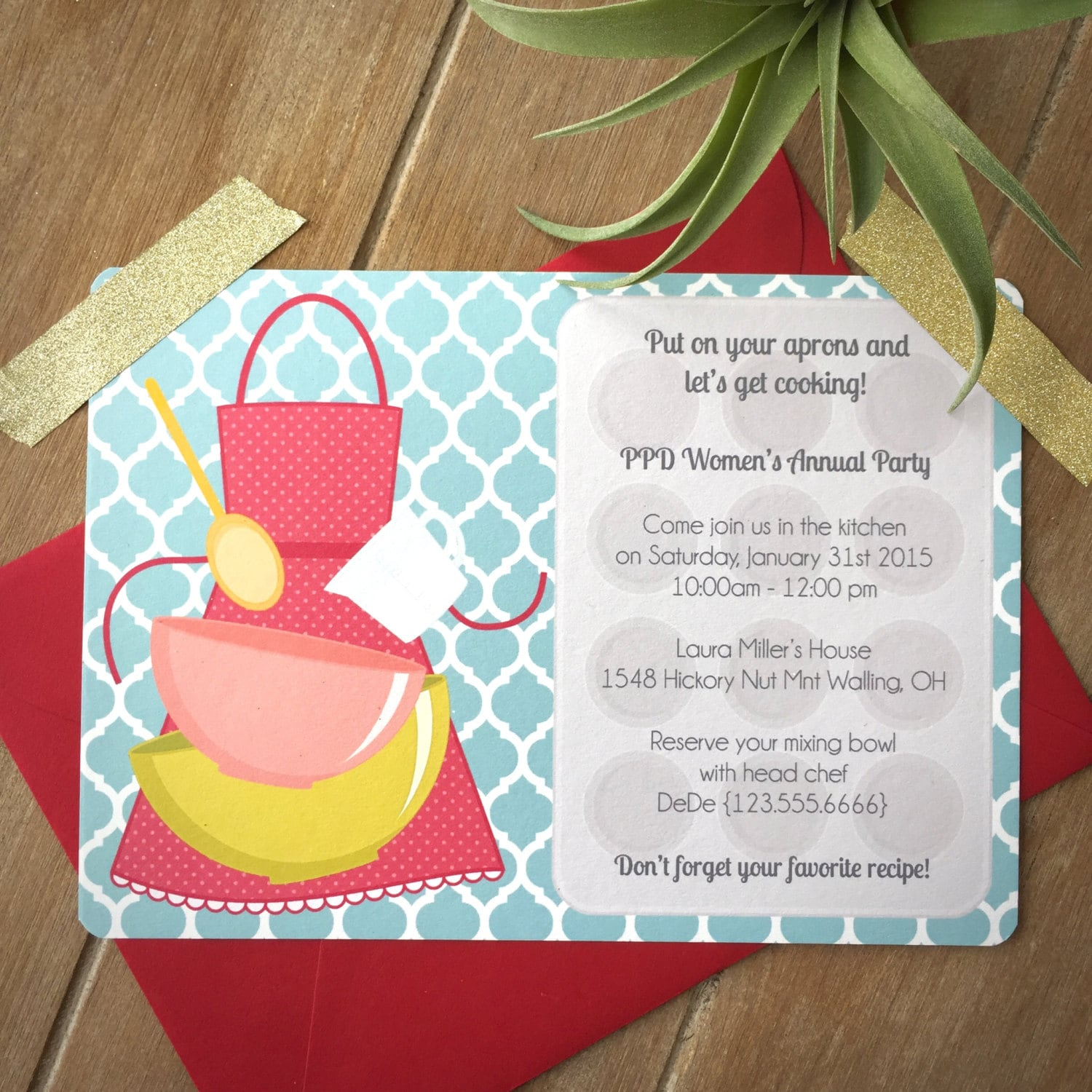 Cooking party invitation child cooking birthday party