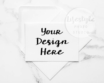 Minimal Card Mockup / Styled Card with White Envelope Mock Up / Blank Greetings Card Background / Marble